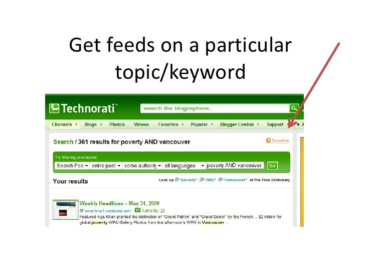 Get feeds on a particular      topic/keyword