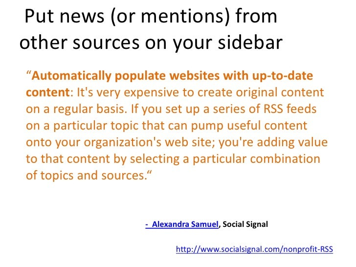 Learn more: http://www.socialsignal.com/nonprofit-RSS