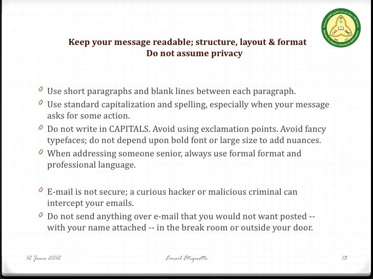 Rss 2012 email etiquette email etiquette 12 13 keep your message readable structure layout altavistaventures Image collections