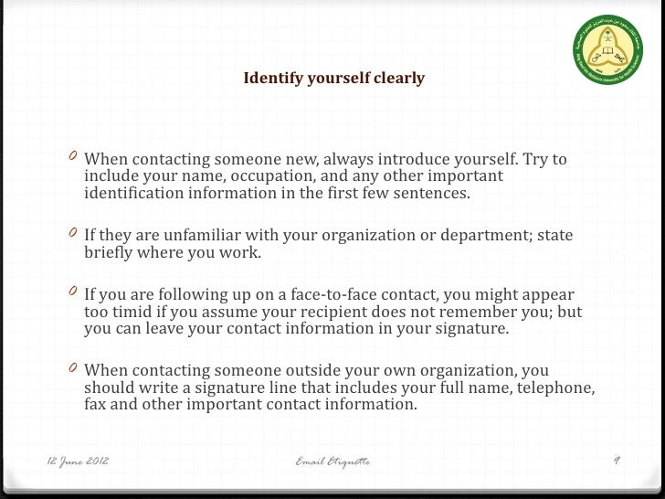 RSS 2012 Email Etiquette