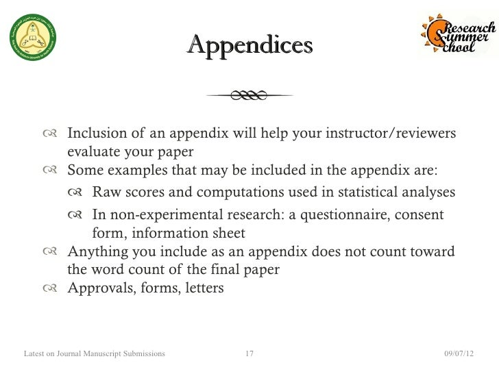 appendices for a research paper This is accomplished with a general review of the primary research literature (with citations an appendix is an optional part of the paper.