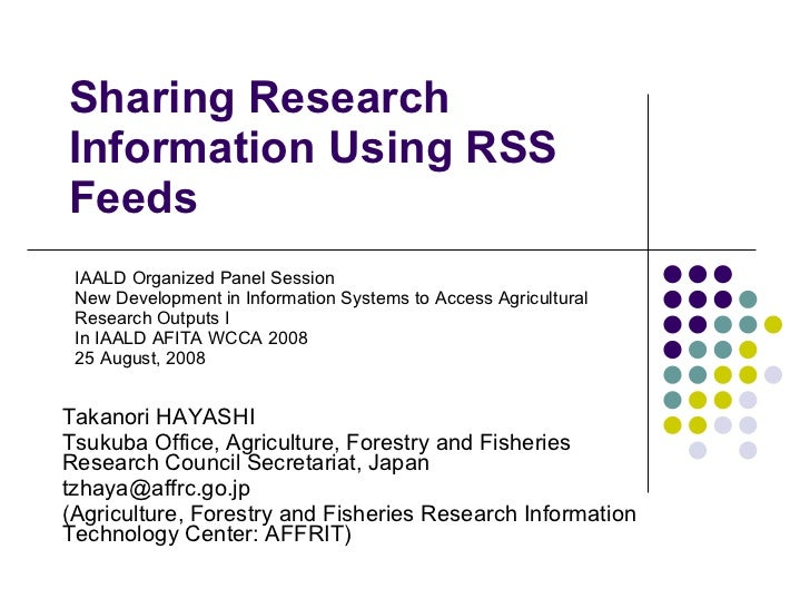 Takanori HAYASHI Tsukuba Office, Agriculture, Forestry and Fisheries Research Council Secretariat, Japan  [email_address] ...