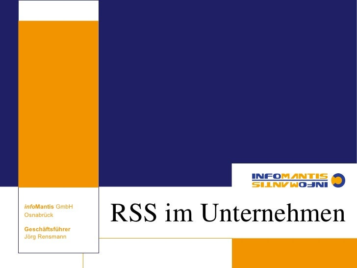 Corporate RSS Strategie - RSS im Unternehmen