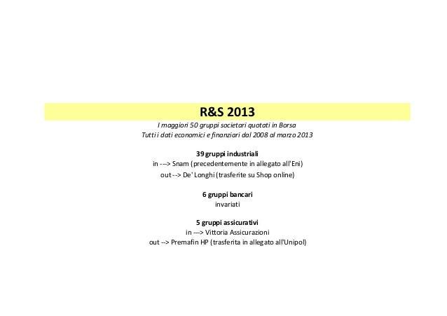 R&S2013 Imaggiori50gruppisocietariquotatiinBorsa Tuttiidatieconomiciefinanziaridal2008almarzo2013 39gru...