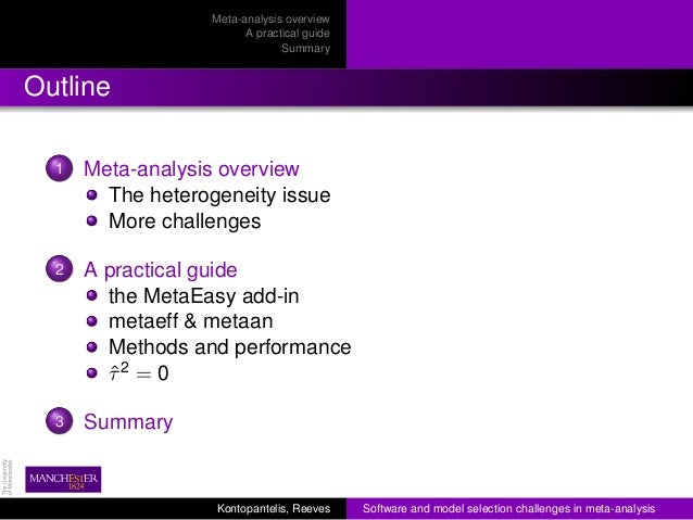 RSS local 2012 - Software challenges in meta-analysis Slide 2