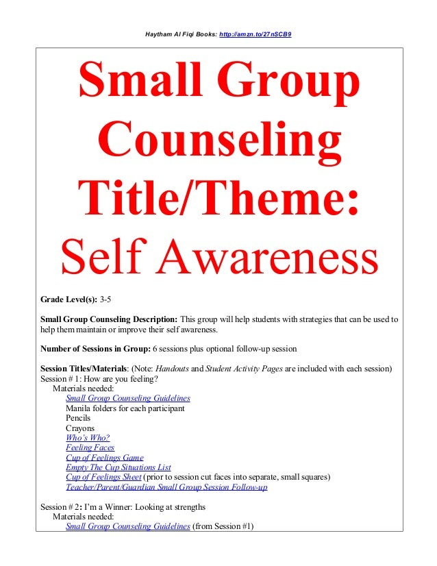 Small Group Counseling Title Theme Self Awareness