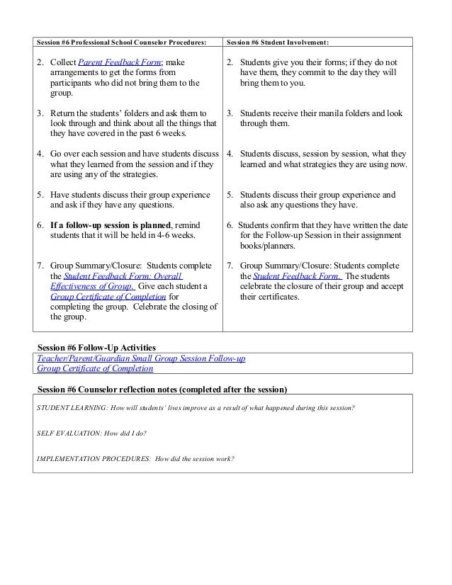 Student Feedback Form Small Group Counseling Titletheme Self