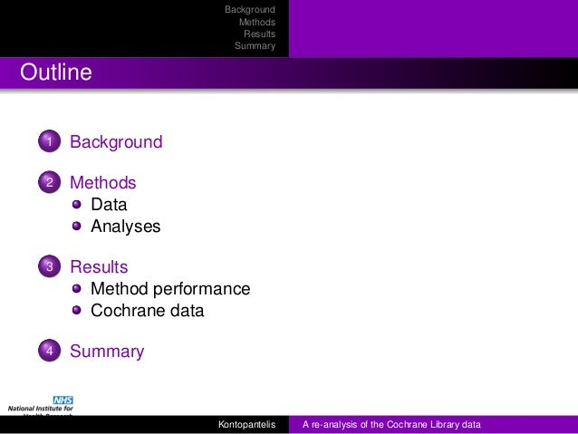 RSS 2013 - A re-analysis of the Cochrane Library data] Slide 2
