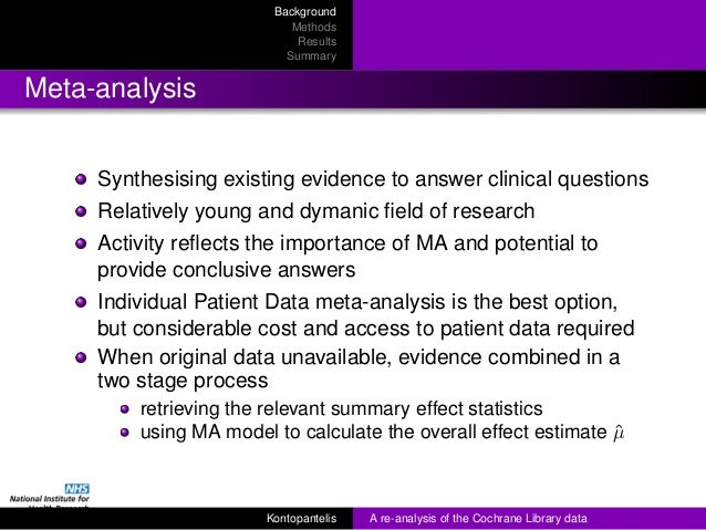 RSS 2013 - A re-analysis of the Cochrane Library data] Slide 3
