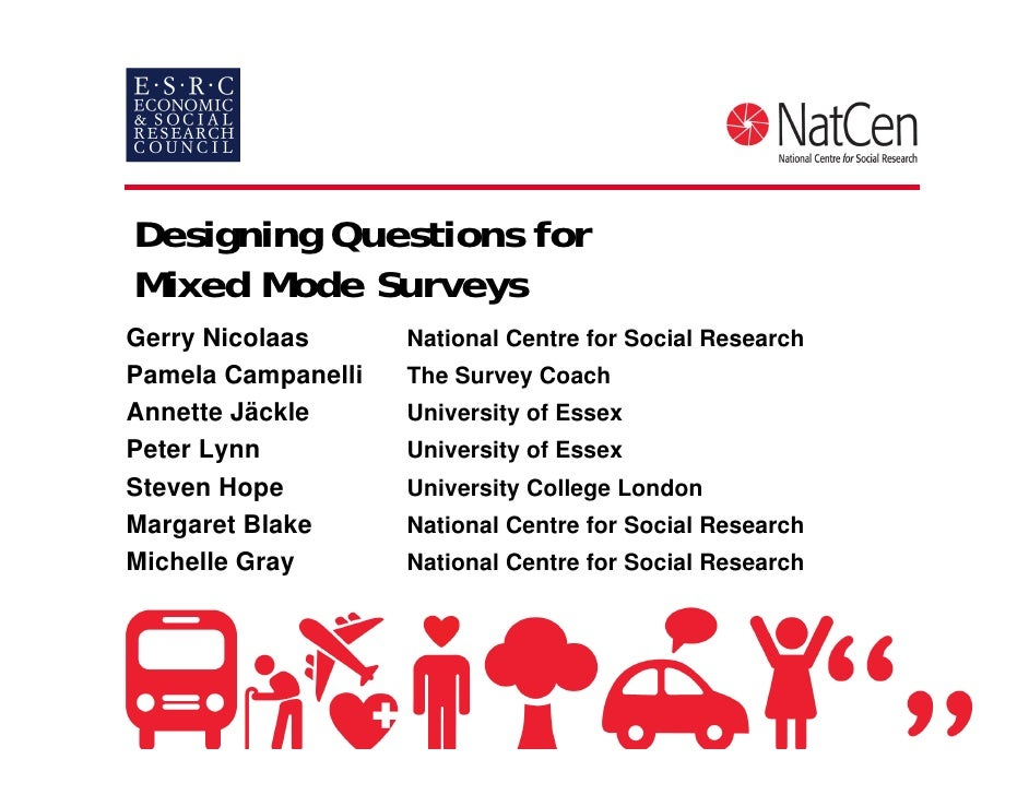 Designing Questions forMixed Mode SurveysGerry Nicolaas      National Centre for Social ResearchPamela Campanelli   The Su...