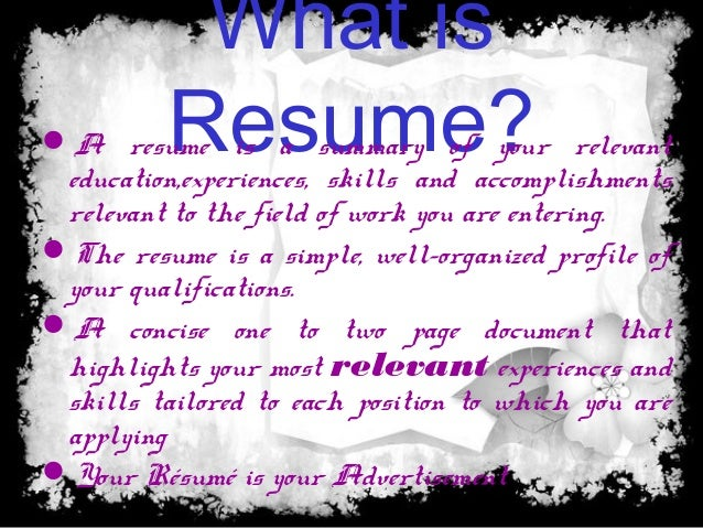 ... Résumé Is Your Advertisement; 2.