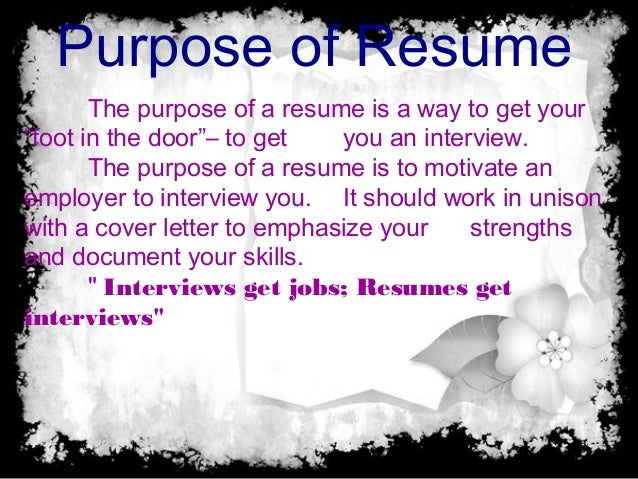 Exceptional Resumes ...  What Is The Purpose Of A Resume