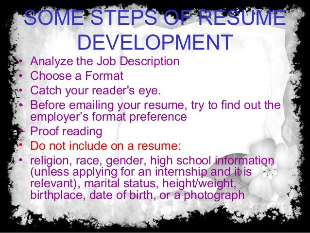 or a photograph 9 specific components of a resume contact informationwhat is your
