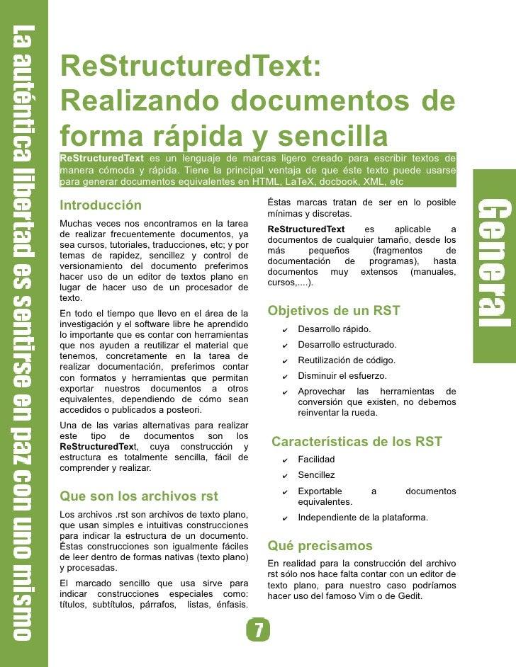 ReStructuredText: Realizando documentos de forma rápida y sencilla ReStructuredText es un lenguaje de marcas ligero creado...