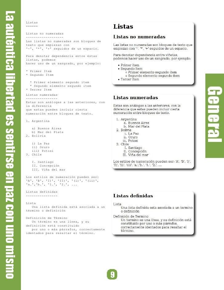 Listas ======  Listas no numeradas ------------------- Las listas no numeradas son bloques de texto que empiezan con '-', ...