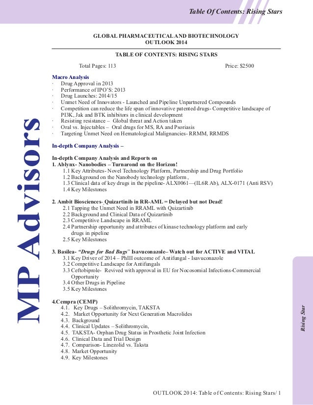 Table Of Contents: Rising Stars  GLOBAL PHARMACEUTICAL AND BIOTECHNOLOGY OUTLOOK 2014 TABLE OF CONTENTS: RISING STARS Tota...