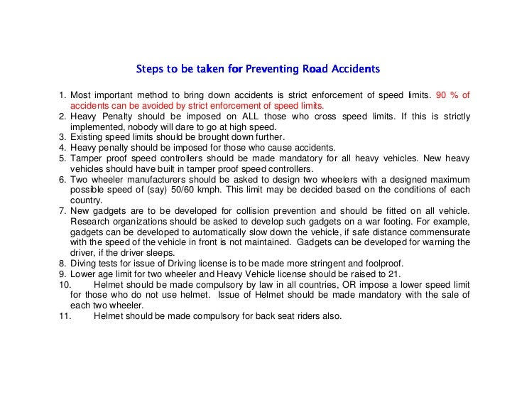 How to reduce the toll of road traffic accidents