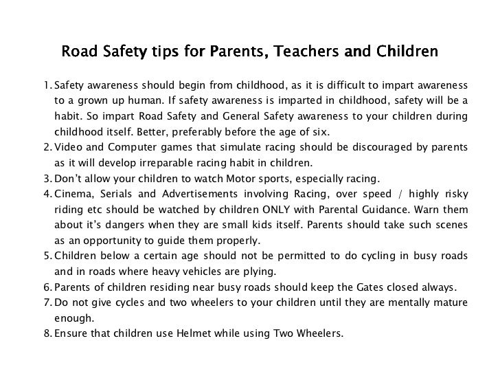 Short essay on road safety