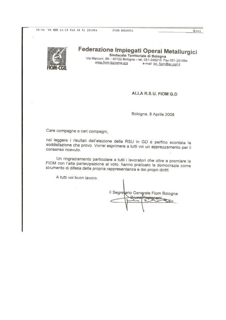 Rsu lettera papignani su rinnovo 2008 2010