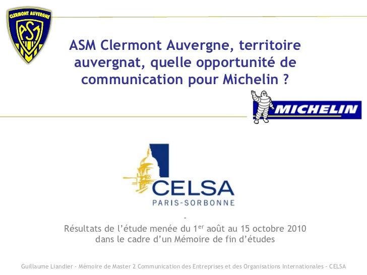 ASM Clermont Auvergne, territoire                 auvergnat, quelle opportunité de                  communication pour Mic...
