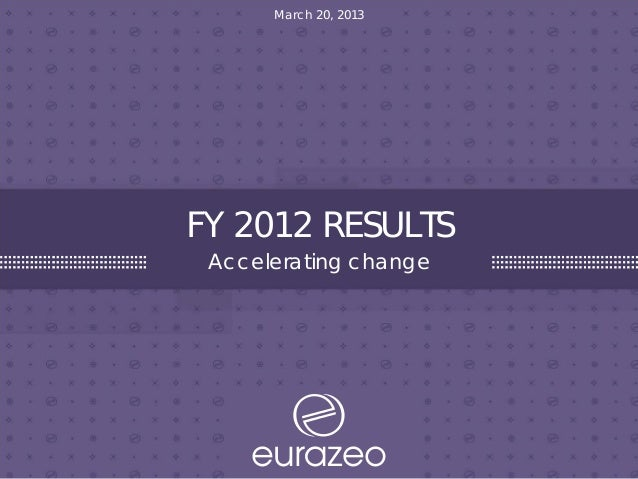 FY 2012 RESULTS Accelerating change March 20, 2013