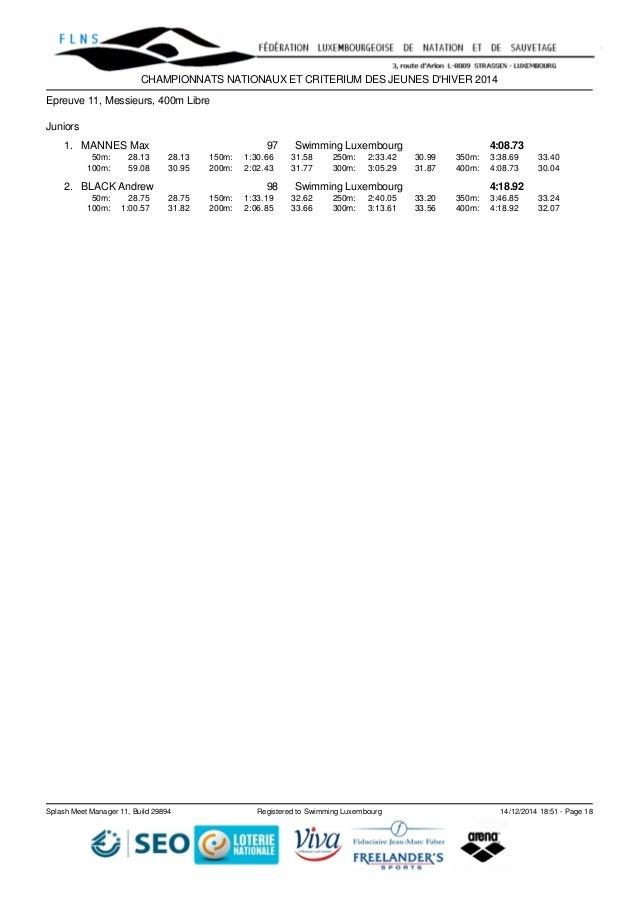 CHAMPIONNATS NATIONAUX ET CRITERIUM DES JEUNES D'HIVER 2014  Epreuve 11, Messieurs, 400m Libre  Juniors  1. MANNES Max 97 ...