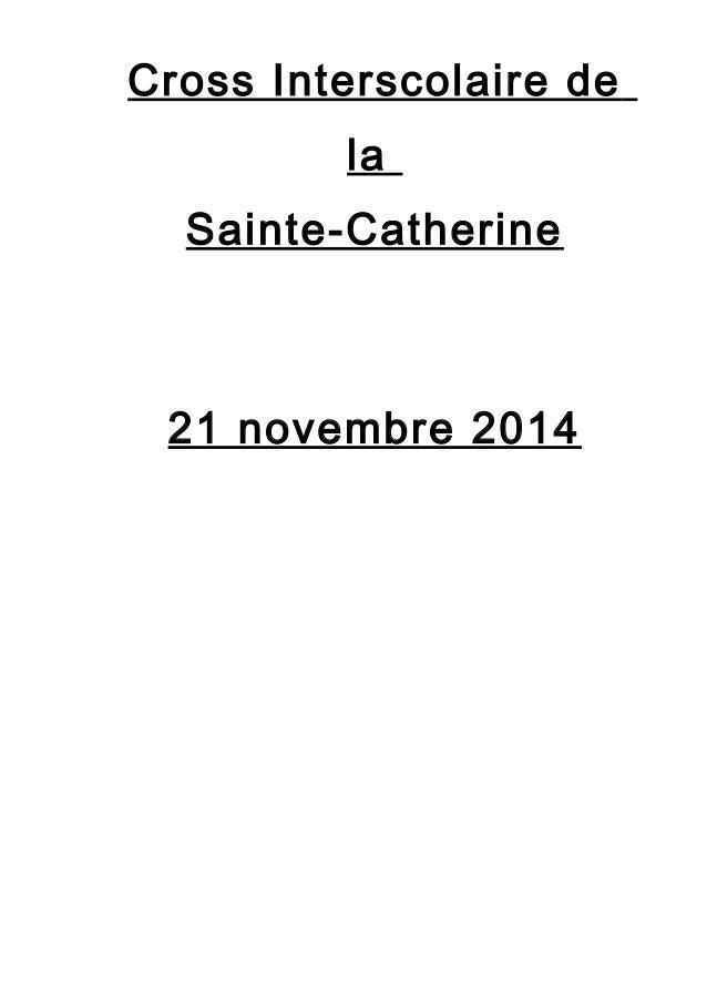 Cross Interscolaire de  la  Sainte-Catherine  21 novembre 2014