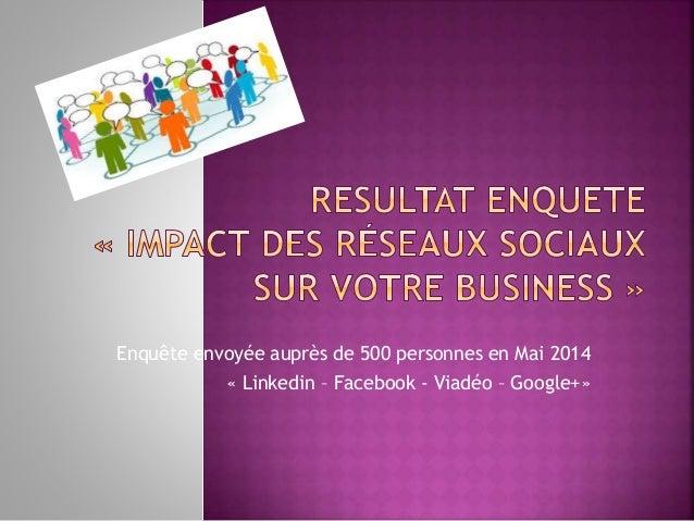 Enquête envoyée auprès de 500 personnes en Mai 2014 « Linkedin – Facebook - Viadéo – Google+»