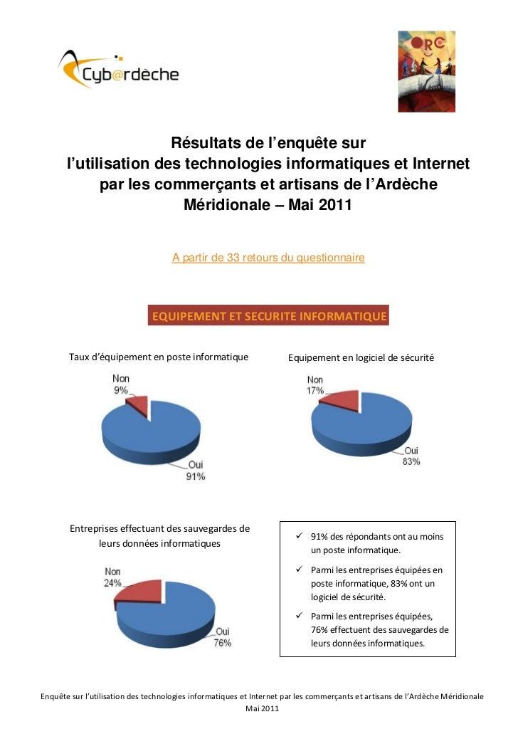 Résultats de l'enquête sur       l'utilisation des technologies informatiques et Internet             par les commerçants ...