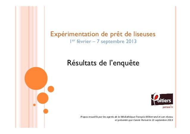 Expérimentation de prêt de liseuses 1er février – 7 septembre 2013  Résultats de l'enquête  Propos  recueillis  par  ...