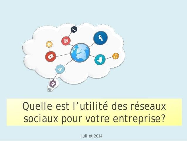 Quelle est l'utilité des réseaux sociaux pour votre entreprise?  Juillet 2014