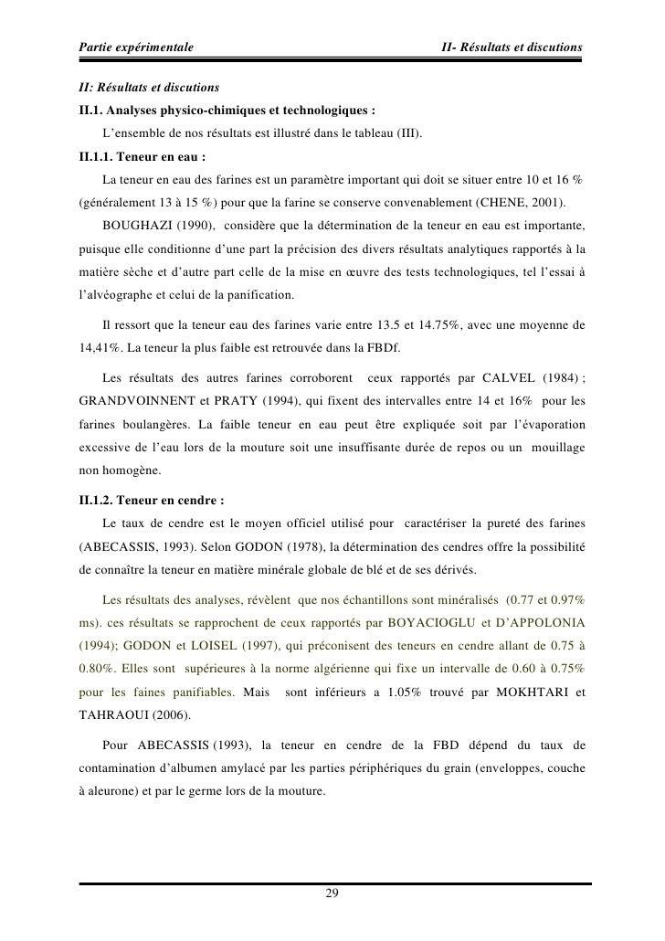 Partie expérimentale                                                  II- Résultats et discutions  II: Résultats et discut...