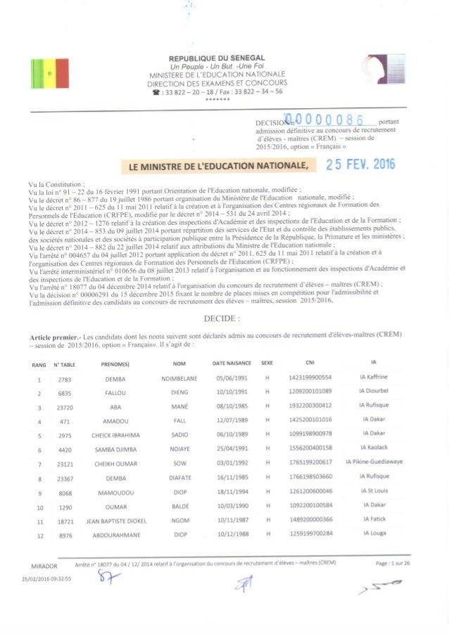 Résultats paraphés admission crem 2015 2016 _  français