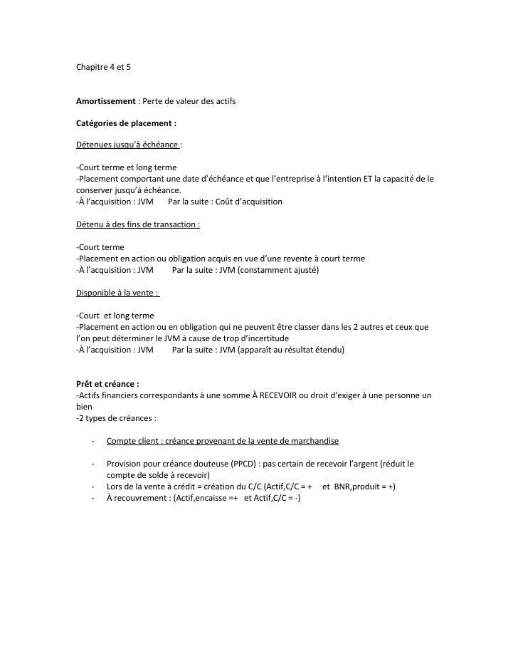 Chapitre 4 et 5   Amortissement : Perte de valeur des actifs  Catégories de placement :  Détenues jusqu'à échéance :  -Cou...