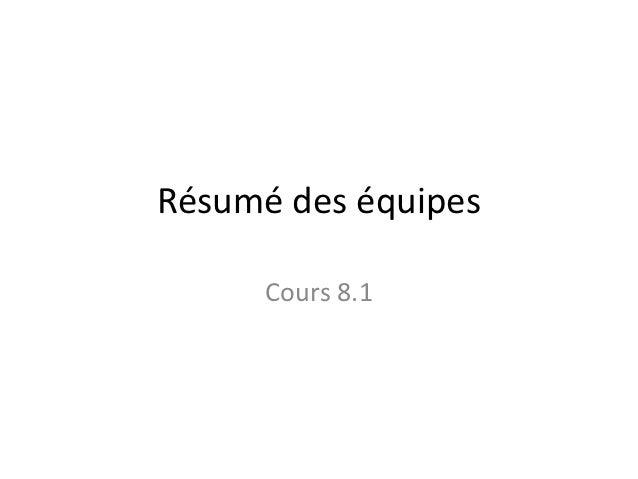Résumé des équipes      Cours 8.1