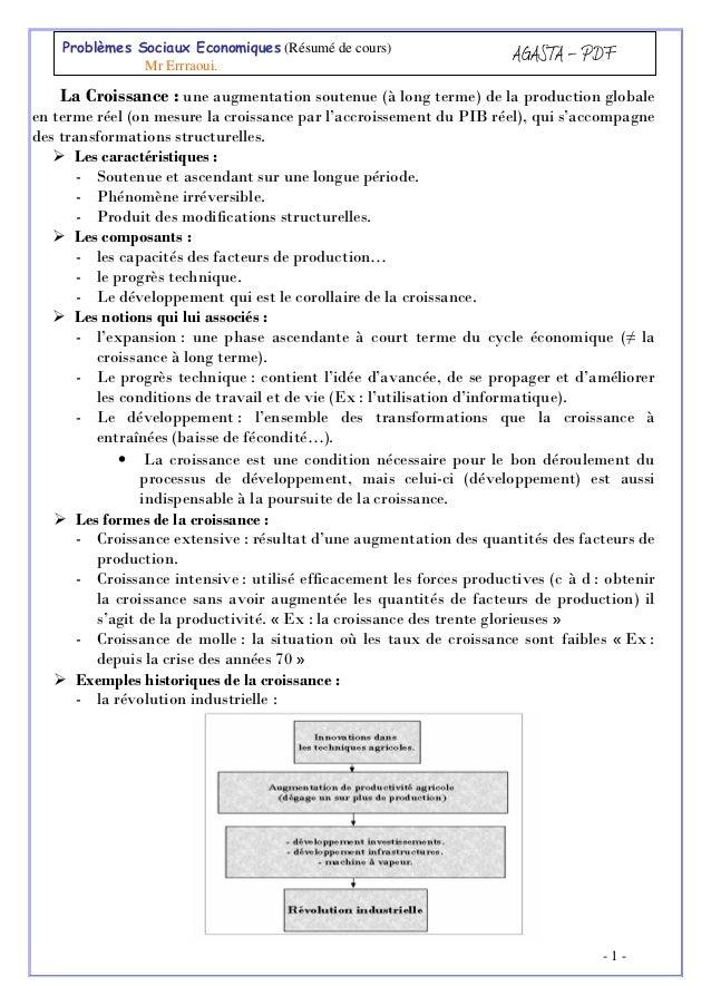 Problèmes Sociaux Economiques (Résumé de cours) Mr Errraoui.  AGASTA - PDF  La Croissance : une augmentation soutenue (à l...