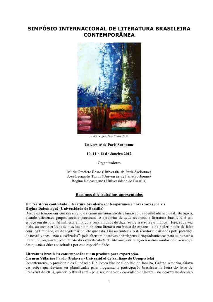 Simposio Internacional : A literatura brasileira contemporânea