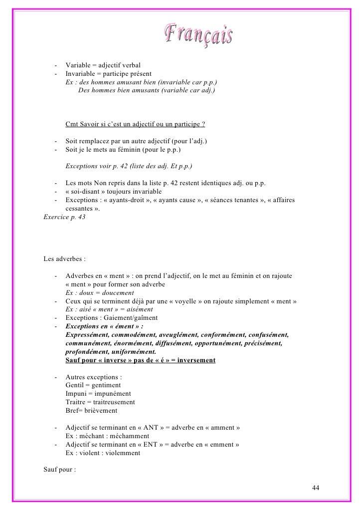 Resume Voc Regles De Grammaire Francais Ise
