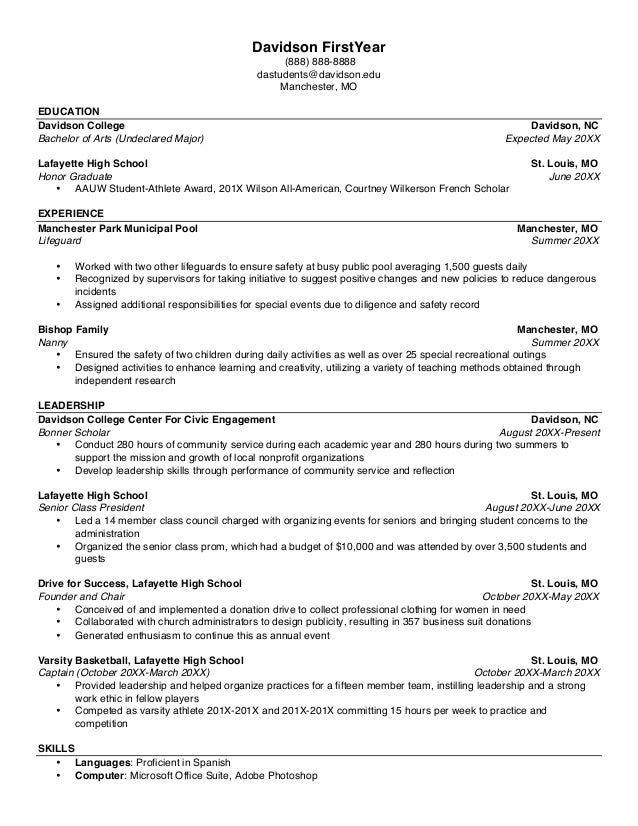 Executive ...  What Does A College Resume Look Like