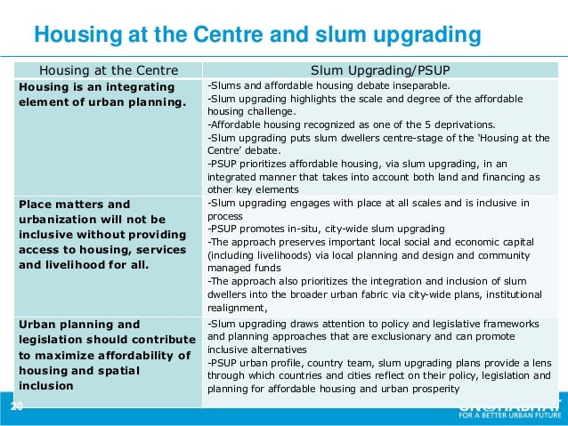 issues and challenges of slum upgrading The slum upgrading plan aims at re-planning, dealing with the complicated boundaries and work on the roads, drainages and solid waste management system among other issues.