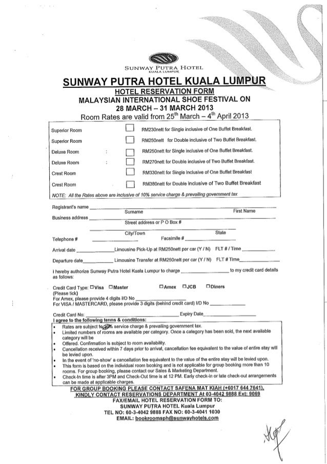 Hotel Reservation Form Misf The Th Malaysia International Shoe Fest
