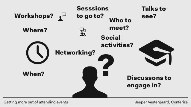 Getting more out of attending events Jesper Vestergaard, Conferize ? Where? When? Who to meet? Talks to see? Sesssions to ...