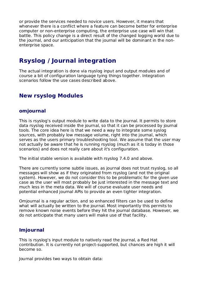 Rsyslog vs Systemd Journal (Paper)