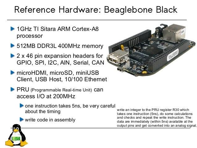 1GHz TI Sitara ARM Cortex-A8 processor 512MB DDR3L 400MHz memory 2 x 46 pin expansion headers for GPIO, SPI, I2C, AIN, Ser...