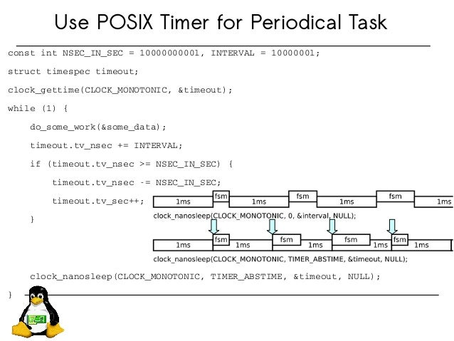 Use POSIX Timer for Periodical Task constintNSEC_IN_SEC=1000000000l,INTERVAL=1000000l; structtimespectimeout; clo...