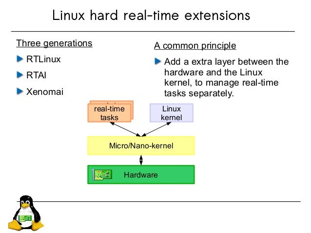 Linux hard real-time extensions Three generations RTLinux RTAI Xenomai A common principle Add a extra layer between the ha...