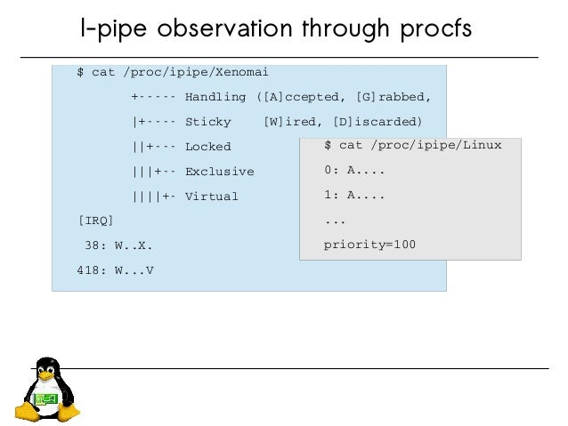 I-pipe observation through procfs $cat/proc/ipipe/Xenomai +Handling([A]ccepted,[G]rabbed,  +S...