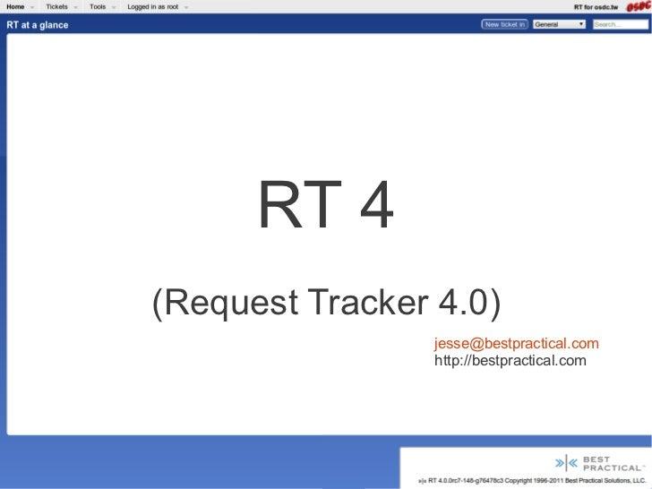 RT 4(Request Tracker 4.0)                 jesse@bestpractical.com                 http://bestpractical.com