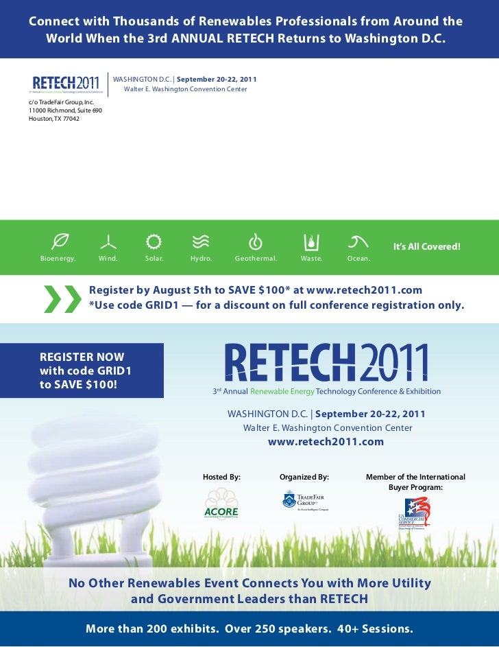Connect with Thousands of Renewables Professionals from Around the  World When the 3rd ANNUAL RETECH Returns to Washington...