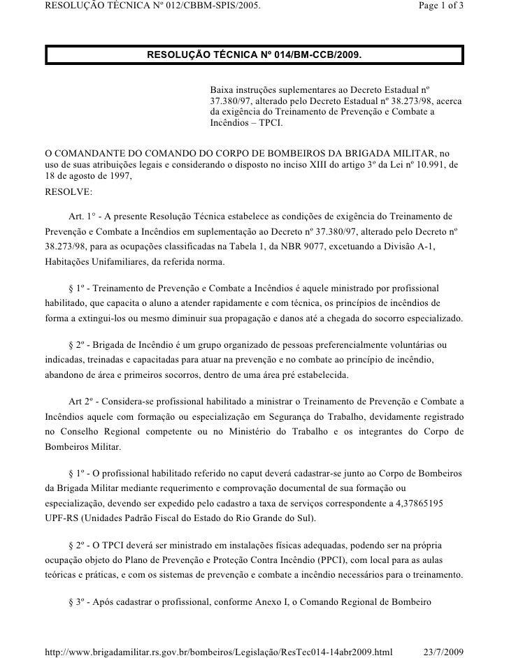RESOLUÇÃO TÉCNICA Nº 012/CBBM-SPIS/2005.                                                      Page 1 of 3                 ...